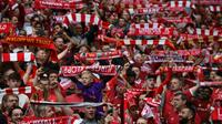Fans de Liverpool lors d'un match de Premier League face à West Ham, au stade Anfield, le 12 août 2018 [Oli SCARFF / AFP/Archives]