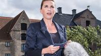 La Première ministre danoise Mette Frederiksen lors d'une conférence de presse à Copenhague le 21 août 2019 [Mads Claus Rasmussen / Ritzau Scanpix/AFP]