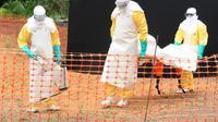 Des membres de Médecins sans frontière transportant le corps d'un défunt de la fièvre Ebola à Guékédou, en Guinée, le 1er avril 2014 [Seyllou / AFP/Archives]