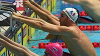 Le Français Jérémy Stravius lors des séries du 50 m dos aux Mondiaux de natation, le 27 juillet 2019 à Gwangju [Manan VATSYAYANA / AFP]