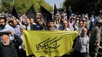 Des Iraniens manifestent le 25 septembre 2015 à Téhéran au lendemain de la bousculade meurtrière survenue à La Mecque [ATTA KENARE / AFP]
