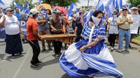 Manifestation contre le président du Nicaragua, Daniel Ortega, le 15 août 2018 à Managua [INTI OCON / AFP]