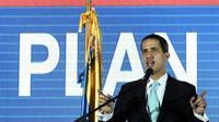 L'opposant vénézuélien Juan Guaido, autoproclamé président par intérim, lors de la présentation de son programme de gouvernement jeudi 21 janvier 2019 à Caracas. [Federico Parra                       / AFP]