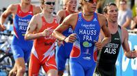 Le Français David Hauss lors du triathlon de Sydney, le 11 avril 2010 [Greg Wood / AFP/Archives]