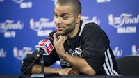 Tony Parker des San Antonio Spurs  lors d'une conférence de presse le 19 juin 2013 à Miami. [Brendan Smialowski / AFP/Archives]