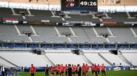 L'équipe des Herbiers lors d'un entraînement au Stade de France, le 7 mai 2018, à la veille de la finale de la Coupe de France contre le PSG  [FRANCK FIFE / AFP]