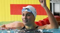 La Française Charlotte Bonnet, sacrée championne d'Europe du 200 m, à Glasgow le 6 août 2018 [FRANCOIS XAVIER MARIT / AFP]