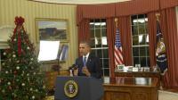 Le président américain Barack Obama s'adresse à la Nation depuis le bureau ovale de la Maison blanche à Washington le 6 décembre 2015 [SAUL LOEB / POOL/AFP]
