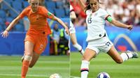 Les attaquantes néerlandaise Vivianne Miedema et américaine Alex Morgan, fers de lance de leurs équipes à la Coupe du monde 2019 [LOIC VENANCE, FRANCK FIFE / AFP/Archives]