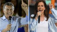 Le président argentin Mauricio Macri (g), le 16 octobre 2017 à Buenos Aires, et l'ex-présidente Cristina Kirchner (d), le 17 octobre 2017 à Buenos Aires, lors de meetings de campagne pour les législatives [Juan MABROMATA, Eitan ABRAMOVICH / AFP]