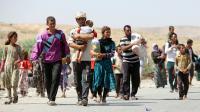 Des Yazidis fuient l'avancée des jihadistes.