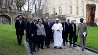 Les leaders du mini-sommet du G5 Sahel à l issue de leur rencontre, ce mercredi, à la Celle-Saint-Cloud, près de Paris.