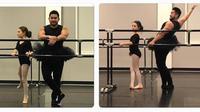 Le père, professeur de fitness très musclé mais guère souple, n'est pas passé inaperçu pendant la leçon de danse.