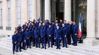 Presqu'un an après leur titre, les Bleus ont été décorés.