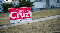 Une affichette en faveur du Républicain Ted Cruz à Burlington, dans l'Iowa, en janvier 2016.