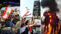 De gauche à droite, des manifestations et rassemblements au Liban, en Irak et en Iran