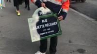 Dans le 7e, la rue Juliette Récamier a été «rebaptisée» ce jeudi 21 novembre.