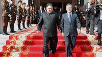 Kim Jong-un et Moon Jae-in lors de leur seconde rencontre, en mai, à Panmunjom