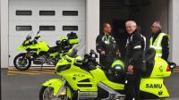 Les motos médicalisées seront testées pendant trois mois à l'hôpital Lariboisière, à Paris.