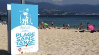 Une plage d'Ajaccio (Corse) où les cigarettes sont prohibées, le 10 août 2018.