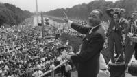 Martin Luther King lors de la marche pour l'emploi et la liberté, à Washington, en 1963.
