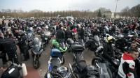 Une manifestation des motards de la Fédération Française des Motards en colère contre l'interdiction des vieux véhicules dans Paris, le 08 février 2015