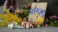 Des fleurs ont été déposées sur les lieux du drame, à Münster, le 8 avril 2018.