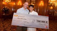 Naoëlle et son mari lors de la remise des 100 000 euros de Top Chef