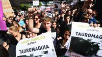 Des membres du Pacma manifestent contre la tauromachie dans les rues de Valence, pendant la fête des Fallas, le 13 mars 2016.