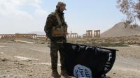 A Palmyre, en Syrie, un soldat du régime a décroché le drapeau de Daesh, le 27 mars 2016.