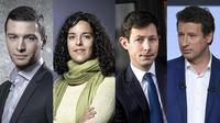 Jordan Bardella (RN), Manon Aubry (LFI), François-Xavier Bellamy (LR) et Yannick Jadot (EE-LV) vont chacun mener leur parti pour les élections européennes de mai prochain. [JOEL SAGET / AFP, Christophe ARCHAMBAULT / AFP et Lionel BONAVENTURE / AFP]