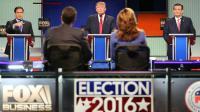 Trois candidats à l'investiture républicaine - Marco Rubio, Donald Trump et Ted Cruz - participent à un débat sur la chaîne conservatrice Fox news, le 14 janvier 2016.