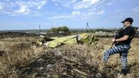 Un séparatiste pro-russe se tient près d'un débris du vol MH17 le 25 juillet 2014.