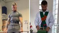 Sur Instagram, le prêtre suédois partage des photos et des vidéos de ses séances de musculation, mais aussi de ses messes.