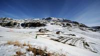 La station de L'Alpe d'Huez, à 2100 mètres d'altitude, le 16 décembre 2015.
