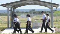 Des jeunes du SNU sur la base aérienne de Luxeuil-Saint Sauveur, dans la Haute-Saône, le 24 juin 2019.