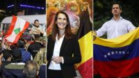De gauche à droite les manifestations au Liban, Sophie Wilmes la Première ministre belge et Juan Guaido président autoproclamé du Venezuela