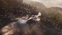 Vue aérienne du Wakanda, le pays fictif où se trame la narration du block-buster Black Panther.
