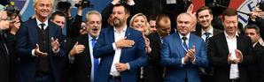Le leader de la Ligue italienne Matteo Salvini (au centre) a réuni, samedi 18 mai à Milan, une douzaine de représentants de partis de la droite nationaliste, notamment le Néerlandais Geert Wilders (à gauche) et la Française Marine Le Pen (à droite de Matteo Salvini).