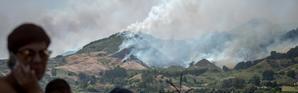 Des colonnes de fumée s'élèvent dans les environs de Lomo del Pino, dans l'île espagnole de Grande Canarie, le 18 août 2019 [DESIREE MARTIN / AFP]