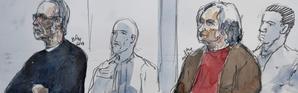 Croquis d'audience mettant en scène Michel Fourniret et son ex-épouse Monique Olivier, à la cour d'assises de Versailles, dans les Yvelines, le 13 novembre 2018 [Benoit PEYRUCQ / AFP]