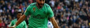 L'attaquant français du Real Madrid, Karim Benzema, buteur face l'Espanyol Barcelone, en Liga, à Santiago-Bernabeu, le 7 décembre 2019 [PIERRE-PHILIPPE MARCOU / AFP]