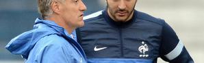 Le sélectionneur de l'équipe de France Didier Deschamps et l'attaquant Karim Benzema, le 6 juin 2013 à Porto Alegre [FRANCK FIFE / AFP/Archives]