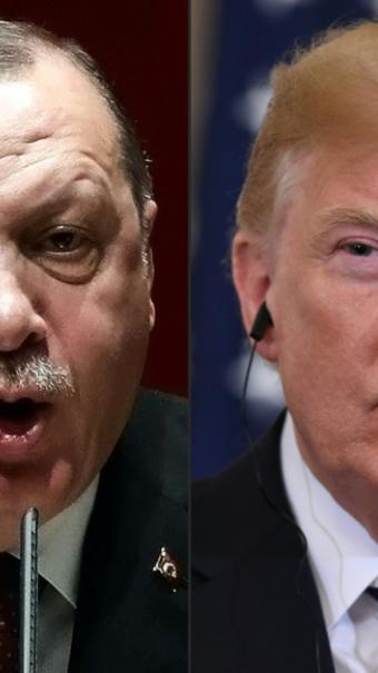 Montage créé le 11 août 2018 montrant la photo du président turc Recep Tayyip Erdogan (d) prise le 26 janvier 2018 à Ankara et celle du président américain Donald Trump (g) prise le 30 juillet 2018 à Washington [ADEM ALTAN, SAUL LOEB / AFP/Archives]