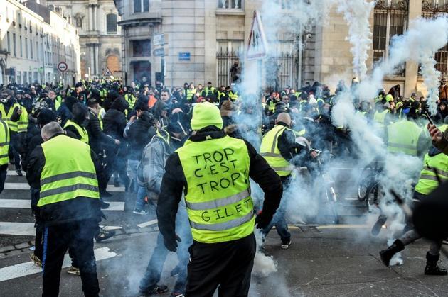 """Manifestation des """"gilets jaunes"""", le 19 janvier 2019 à Nancy  [Jean-Christophe VERHAEGEN / AFP]"""