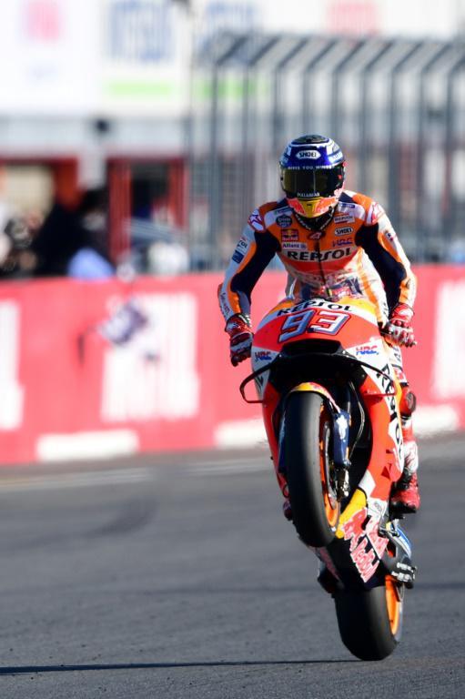 L'Espagnol Marc Marquez (Honda) à l'arrivée du GP du Japon, sur le circuit de Motegi, dans la préfecture de Tochigi, le 19 octobre 2018 [Martin BUREAU / AFP]