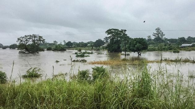 Des champs inondés à la suite du passage du cyclone Kenneth, dans la région de Pemba, dans le nord du Mozambique, le 28 avril 2019 [GREGORY WALTON / AFP]