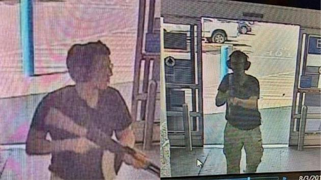 Photo du suspect entrant dans un hypermarché Walmart d'El Paso, au Texas, le 3 août 2019. La fusillade a fait plusieurs morts selon les autorités    [Courtesy of KTSM 9 / KTSM 9 news Channel/AFP]