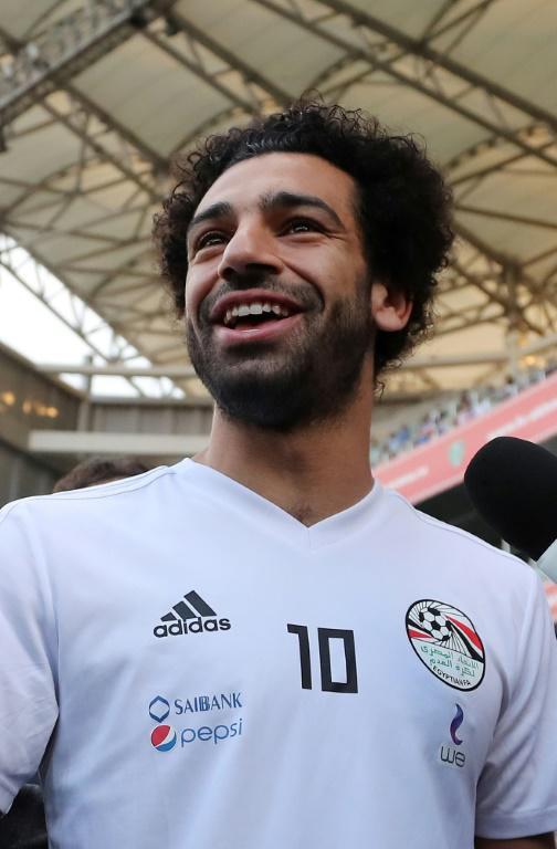 L'attaquant vedette de l'Egypte Mohamed Salah lors d'un entraînement, le 10 juin 2018 à Grozny  [KARIM JAAFAR / AFP]