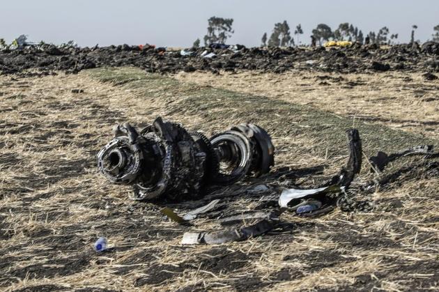 Des débris du Boeing 737 MAX 8 qui s'est écrasé le 10 mars à l'est d'Addis Abeba [Michael TEWELDE / AFP]